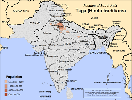 Taga (Hindu traditions) in India map