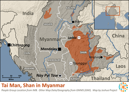 Tai Man, Shan in Myanmar (Burma) map
