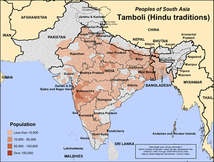 Tamboli (Hindu traditions) in India map
