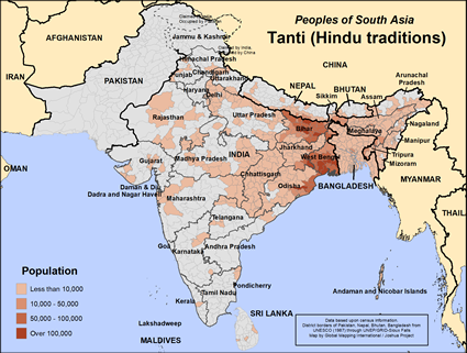 Tanti (Hindu traditions) in India map