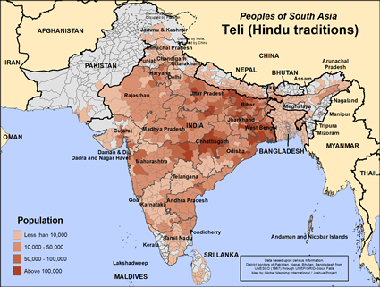 Teli (Hindu traditions) in India map