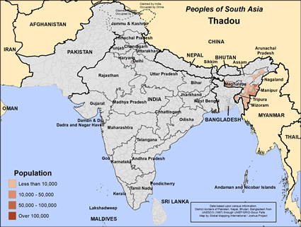 Thadou in India map