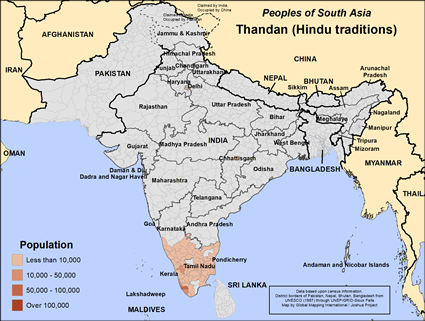 Thandan (Hindu traditions) in India map