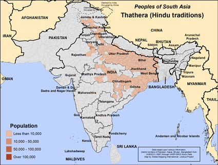 Thathera (Hindu traditions) in India map