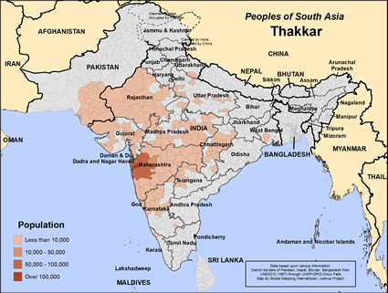 Thakkar in India map