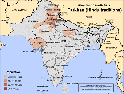 Tarkhan (Hindu traditions) in India map