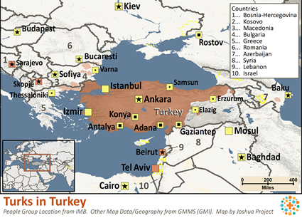 Turk in Turkey map