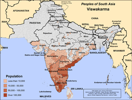Viswakarma in India map