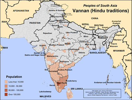 Vannan (Hindu traditions) in India map
