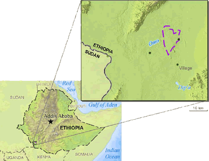 Kwegu in Ethiopia map