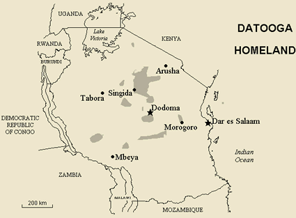 Datooga in Tanzania map