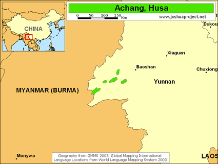Achang, Husa in China map