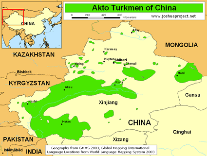 Akto Turkmen in China map