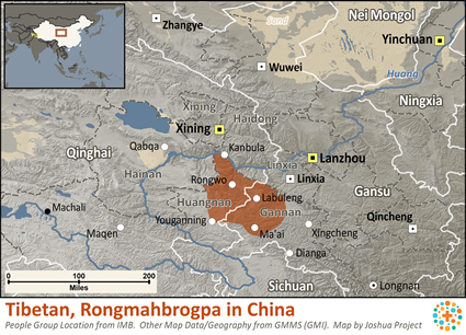 Amdo, Rongmahbrogpa in China map