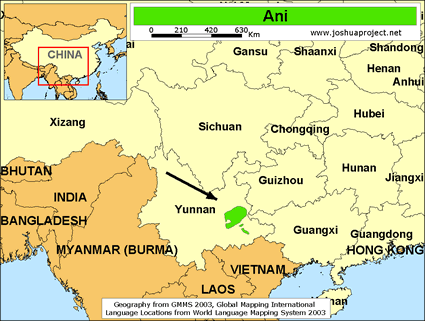 Ani in China map
