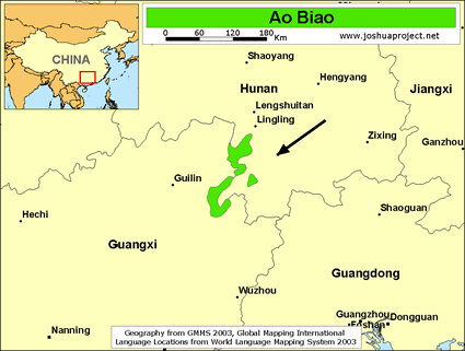 Ao Biao in China map