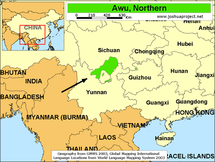 Awu, Northern in China map