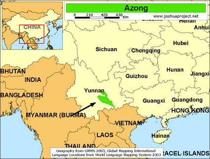 Azong in China map