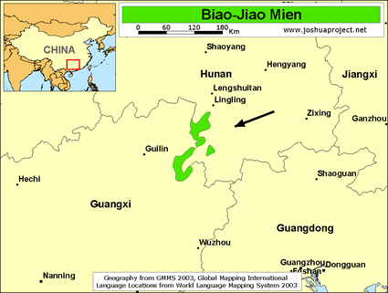 Biao-Jiao Mien in China map