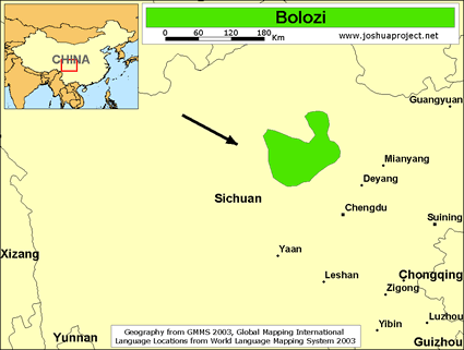 Bolozi in China map