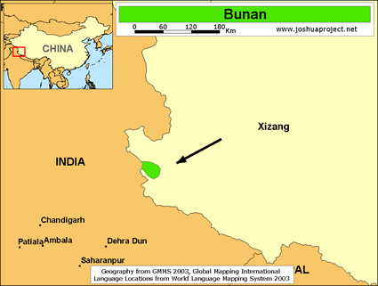 Bunan in China map