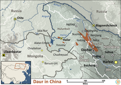 Daur in China map