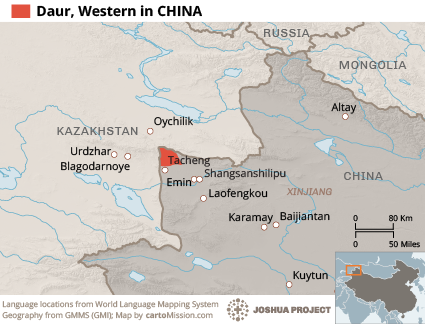 Daur, Western in China map