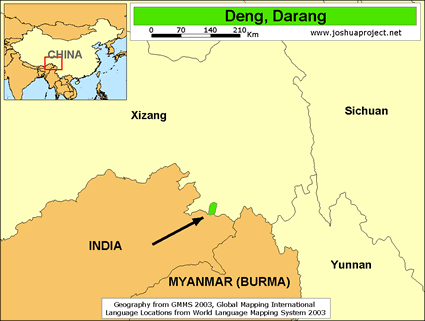 Deng, Darang in China map