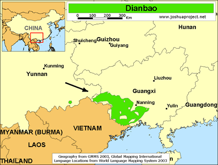 Dianbao in China map