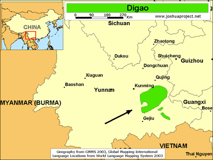 Digao in China map