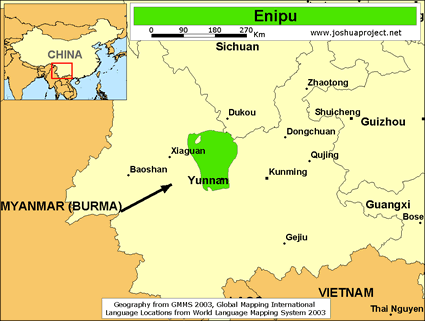 Enipu in China map