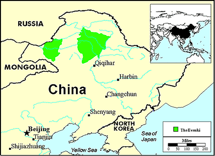 Evenki, Aoluguya in China map