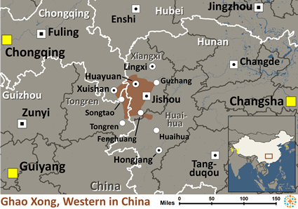 Ghao-Xong, Western in China map
