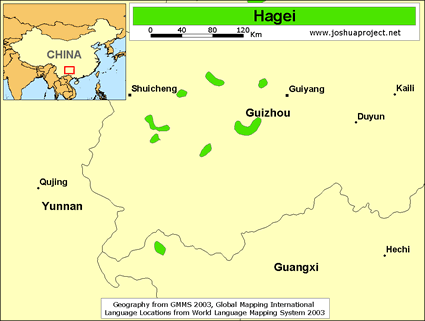 Hagei in China map