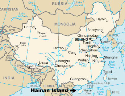 Hakka, Hainan Island in China map