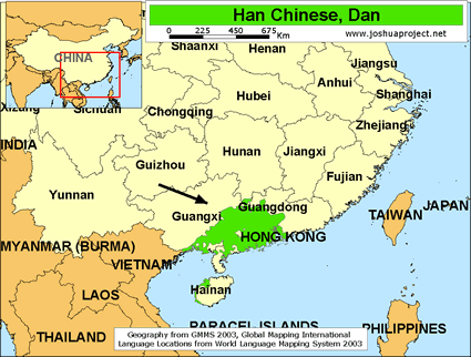 Han Chinese, Dan in China map