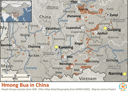 Hmong Bua in China map
