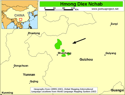 Hmong Dlex Nchab in China map