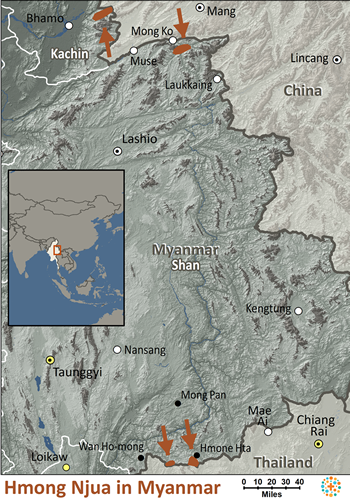 Hmong Njua in Myanmar (Burma) map