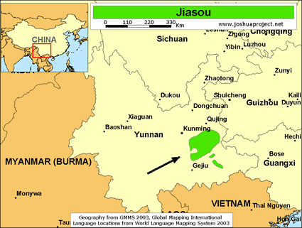 Jiasou in China map