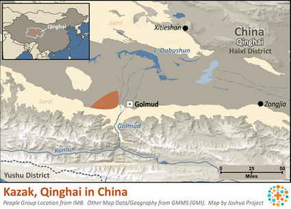 Kazak, Qinghai in China map