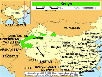 keriya in china map