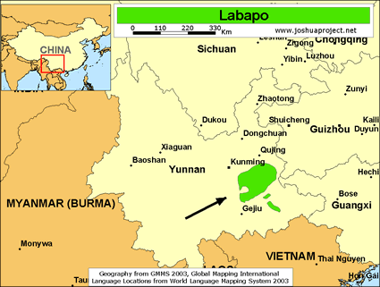Labapo in China map