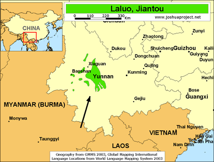 Laluo, Jiantou in China map