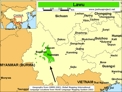 Lawu in China map
