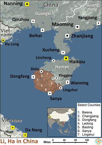 Li, Ha in China map
