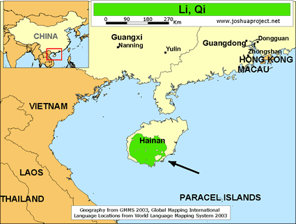 Li, Qi in China map