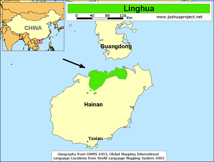 Lingao in China map