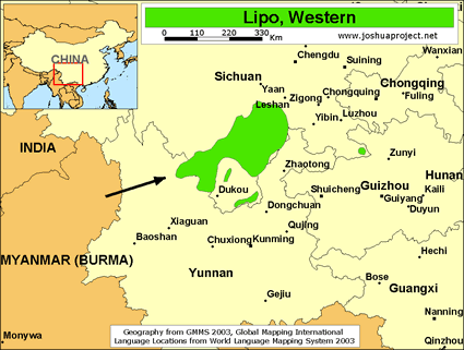 Lipo, Western in China map