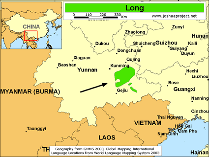Long in China map